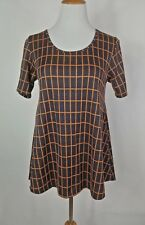 LULAROE PERFECT T SIZE SMALL NAVY BLUE ORANGE WINDOWPANE PLAID
