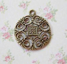Antiguo Colgante Redondo De Bronce - 4 piezas