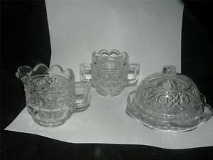 EAPG HIGBEE GALA HAWAIIAN LEI CHILD'S toy doll SET glass spooner butter dish &