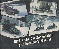 1992 ARCTIC CAT SNOWMOBILE LYNX OPERATOR'S MANUAL