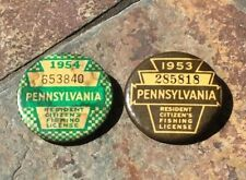 2 Vintage Pa. Resident Citizen's Fishing License Badges Pins 1953 & 1954