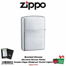 Zippo Brushed Chrome Finish Lighter, Regular, Genuine USA Windproof #200