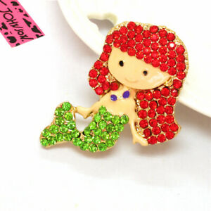 Betsey Johnson Green Red Crystal Cute Mermaid Rhinestone Charm Brooch Pin