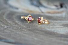AamiraA 18K Gold Plated Round Big Red Zircon AAA+ Designer Earrings Loops Huggie