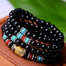 6mm Stone Buddhist Black Glaze 108 Prayer Beads Mala Bracelet/Necklace DAJ9012-3