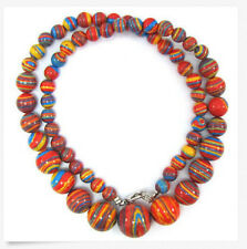 """6-14mm red calsilica beads necklace 18"""""""