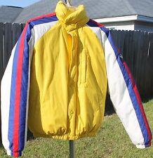 Polo Ralph Lauren Vintage Stadium Puffer Down Jacket Coat M Yellow Red Blue