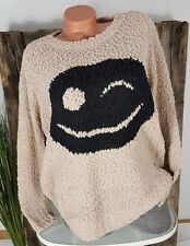 NEU KNIT WEAR BOYFRIEND OVERSIZE BOUCLE PULLOVER BIG SMILEY TAUPE 36-42