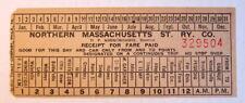 Vintage Northern Massachusetts St. Railway Co.  Streetcar & Trolley Transfer