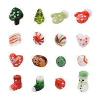 16pcs Mix Handmade Lampwork Bead Christmas Snowman Stocking Jewelry Loose Spacer