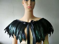 Black Green Feather Hand made Collar Cape Shawl Wrap for halloween evening dress