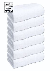 6x White Hand Towels 600 GSM Egyptian Cotton Soft Fluffy Bathroom Spa Saloon Gym