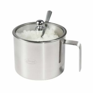 Newness Stainless Steel Sugar Bowl with Handle, Clear Lid (for Better Recogni...
