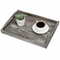 MyGift 16 x 12 in Rustic Torched Wood Breakfast Serving Tray with Cutout Handles