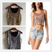 Women's Sequin Geometric Design Cropped Camisole Crop Top Tank Gold/Silver/Pink