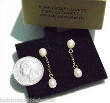 Signed AVON Pierced Earrings Pearlesque Illusion, 1997, Faux Pearl Dangles, NIB
