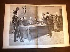 Stampa enorme del 1887 Coscrizione Sorteggio numero Chiamata servizio militare
