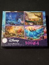 Thomas Kinkade Disney 4 in 1 Puzzle 500 piece Cinderella Mermaid Mickey 2019 New