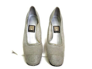 """Nina Womens Shoes Size US 7M Silver Embellished Sparkly Pump Heel 3"""" Almond Toe"""