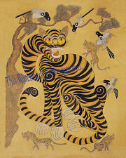 Korean Art Minhwa 민화 Tiger & magpie 8x10 Printed on Cotton Art Paper Matted fa1