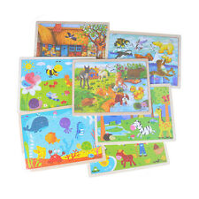 Wooden Puzzle Jigsaw Cartoon Baby Kids Educational Learning Tool Set