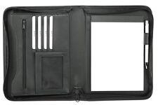 Schreibmappe A5 mit Reißverschluss, Kunstleder schwarz - von FIHA-Promotion