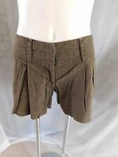 DKNY Donna Karen Solid Brown Pleat Front Linen Blend Casual Shorts - Size 4