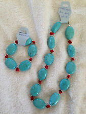 "16""  Chinese turquoise & red bamboo Coral Necklace & matching bracelet"