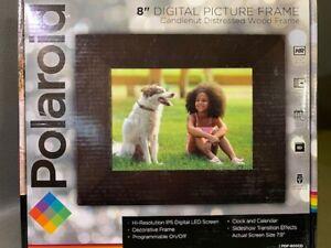 "Polaroid 8"" Digital Picture Frame w/Decorative Candlenut Distressed Wood Frame"