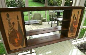 Vtg Mid-Century Modern Walnut Frame SHADOW BOX Mirror - Wall Shelf - EXCELLENT