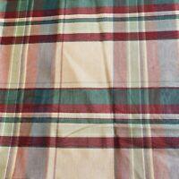 Holiday Taffeta Moire Fabric Plaid Cream Green Burgundy Taupe Tan Upholstery