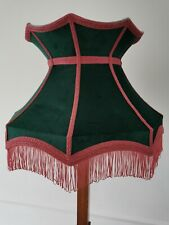 Bottle green pink velvet lampshade crown lined pink a standard lamp or ceiling