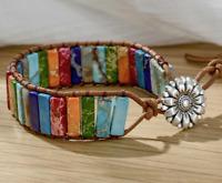 Armband 7 Hauptchakren Chakra Gleichgewicht Leder Stein Handgefertigt Bracelet