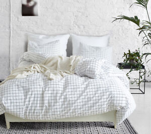 White Grid Duvet Quilt Cover With Pillow Case Bedding Set Twin Queen King Size