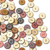 100Pcs/lot Wooden Buttons 2 Holes Flower DIY Sewing Scrapbooking Crafts 20/25mm