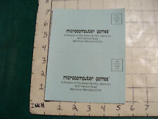 vintage video game item: MICROCOMPUTER GAMES avalon hill info card
