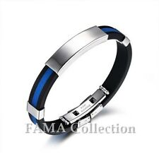 FAMA Black Rubber Bracelet with Blue Greek Key Centre & Stainless Steel ID Plate
