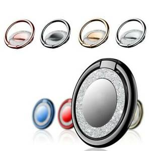 Finger Ring Grip Cell Phone Holder Stand Attachment Rotating Diamond Mirror