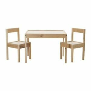 IKEA LATT Children's Small Table and 2 Chairs Wooden Pine Kids Furniture Set New