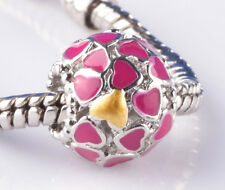 1pcs silver love surround Rose big hole Beads Fit European Charm Bracelet #F800