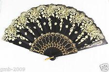 Spanish Style Black Dance Wedding Party Lace Folding Hand Held Gold Flower Fan