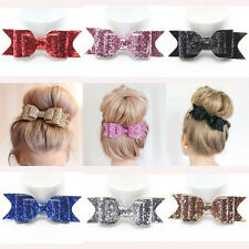 Girl Women Hairpin Large Bow knot Barrette Crystal Hair Clip Pin Bow Accessories