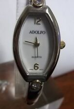 Woman's Adolfo Watch, White Face, Japan Movt, Gold/Silver Tone Band, Runs Well