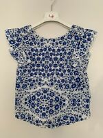 Girls Zara Age 10 Years T-Shirt White with Blue Floral Print Ruffle Sleeves