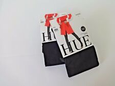 HUE WOMEN'S ULTIMATE OPAQUE CONTROL TOP TIGHTS 2 PAIR BLACK SIZE 1 MADE IN USA