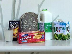 DOLLS HOUSE MINIATURE MILK COFFEE TEA BAGS & BISCUITS Choice of 3 Milks Handmade
