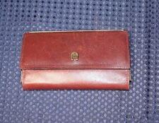 Vintage Etienne Aigner Large Wallet Leather Check Book  Burgundy  EUC