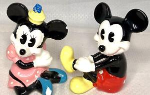 "Mickey & Minnie Mouse Figurines VTG Walt Disney Productions Japan 3.25"" Set of 2"