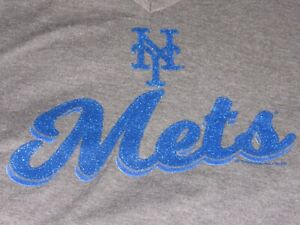 MLB New York Mets Women's V Neck Dark Gray T Shirt NWT Size Large Retail 19.99