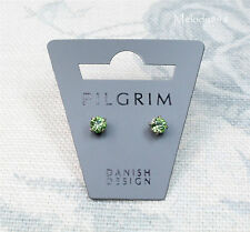 PILGRIM 4mm Claw Stud Earrings CLASSIC Silver Plate/Peridot Green Swarovski BNWT